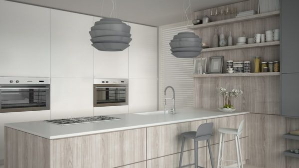 Cocinas grises blancas y madera